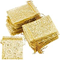 FiveSeasonStuff Organza Wedding Favours Gift Bags Jewellery Birthday Party Baby Shower Arts & Crafts Gift Wrapping Candy DIY Pouches (7cm x 9cm, Gold Swirl)