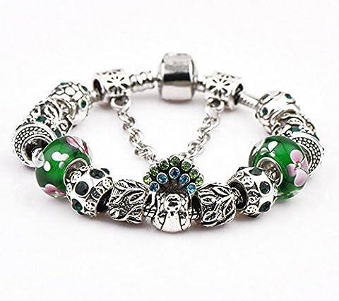 Stillshine New Fashion Charm Bracelet for Women Flower Glass Bead Chain for Women /Lady Teen Girls Birthday Party Gift BK-01