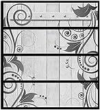 Wallario Möbelfolie/Aufkleber, geeignet für Ikea Malm Kommode - Graue Holztür mit Schnörkelmuster mit 4 Schubfächern