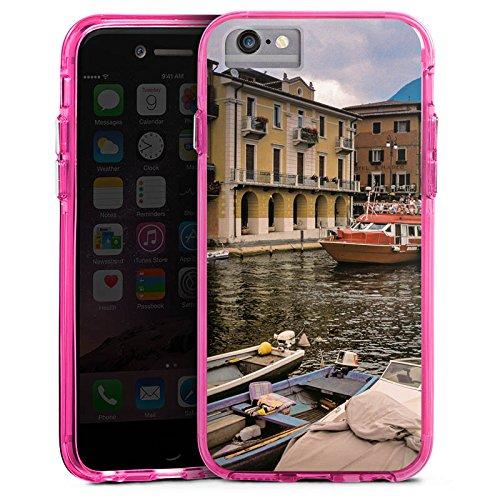 Apple iPhone 7 Bumper Hülle Bumper Case Glitzer Hülle Venedig Venice Fluss Bumper Case transparent pink