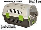 nanook Transportbox für Katzen, Nager und kleine Hunde, 50 x 34 cm, Kunststoff, grau grün