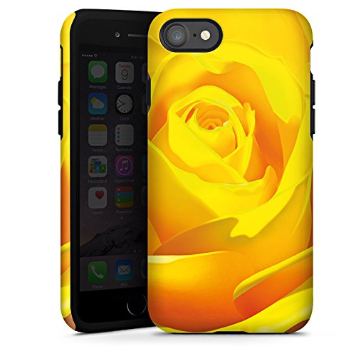 Apple iPhone X Silikon Hülle Case Schutzhülle Rose Blüte Gelb Tough Case glänzend