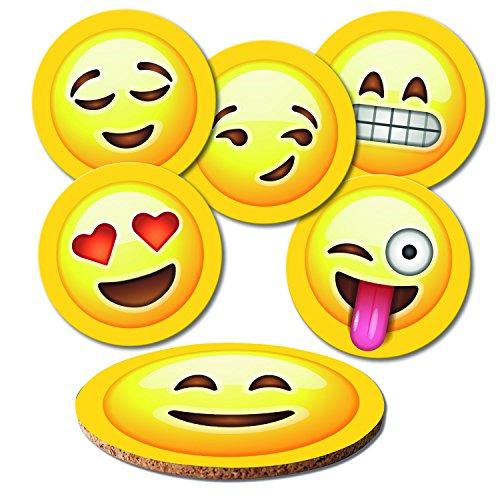 ADDIES Glas-Untersetzer 6-TLG.Set Emojis-Smileys in hochwertiger Klarsicht-Geschenkbox und Korkrückseite, rund, 6 Motive 1