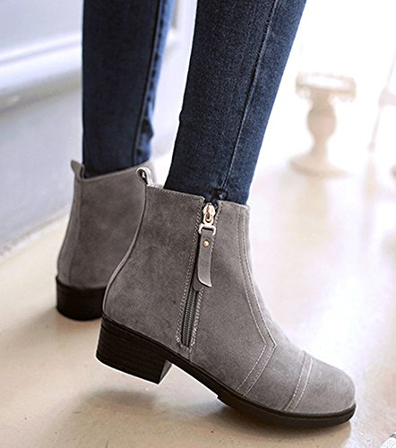 Aisun Damen Basic Nubukleder mittlerer Blockabsatz Kurzschaft Stiefel Grau