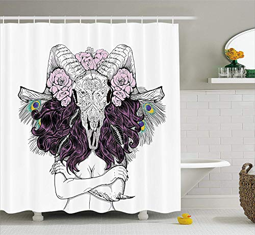 BUZRL Skull Decorations Shower Curtain, Tribal Lady with Horned Goat Head and Peacock Feather Mystic Voodoo Pattern, Fabric Bathroom Decor Set with Hooks, 72x72 inches, Multi