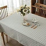 GWELL Leinen Tischdecke Eckig Abwaschbar Tischtuch Pflegeleicht Schmutzabweisend 10 Größe wählbar graue Karos 100 * 140cm - 5