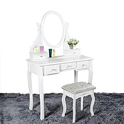 Panana Dressing Table Makeup Desk with Stool, 5 Drawers and Oval Mirror (White, MDF+pine) - low-cost UK light shop.