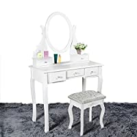 Panana Dressing Table Makeup Desk with Stool, 5 Drawers and Oval Mirror (White, MDF+pine)