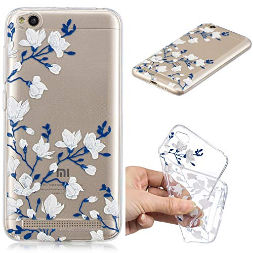 Nadoli Transparent Hülle für Xiaomi Redmi 5A,Magnolie Blumen Malerei Muster Crystal Kirstall Ultra Dünn Durchsichtige Schutzhülle Bumper für Xiaomi Redmi 5A,Magnolie Blumen