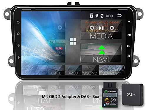 Tristan Auron BT2D7023VW Autoradio + DAB+ Box und OBD 2 Adapter für VW Skoda Seat, Android 8.1, 7'' Touchscreen Bildschirm, GPS Navi, Bluetooth Freisprecheinrichtung, Quad Core, USB/SD, 2 DIN