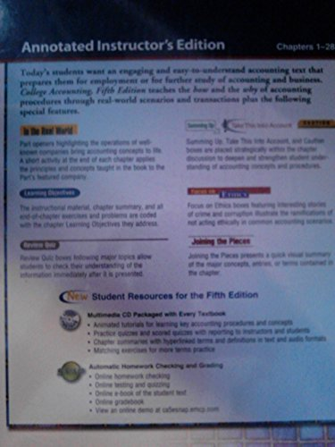 College Accounting: Instructor Resources by Robert L. Dansby (2010-07-31)