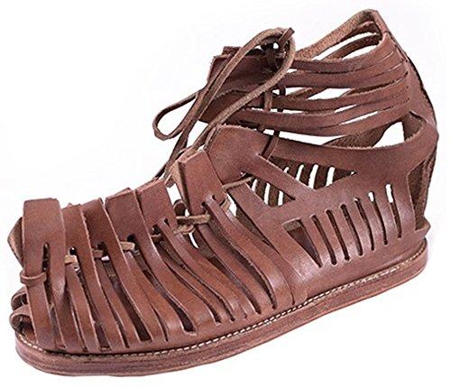 Römische Sandalen Braun Kostüm - Römische Sandalen, Caligae, Herrensandalen braun Mittelalter Wikinger LARP Größe 40 - 47 (47)