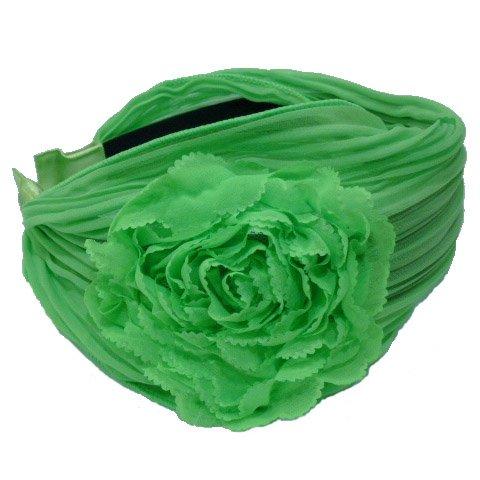 rougecaramel - Serre tête/headband/ large plissé façon bandeau - vert fluo