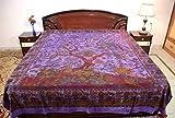 sarjana Kunsthandwerk indischen King Größe Baumwolle Spannbetttuch, Baum des Lebens Tagesdecke Bettwäsche, baumwolle, violett, approx. 88 Inches (223 cm) x 83 Inches (211 cm)