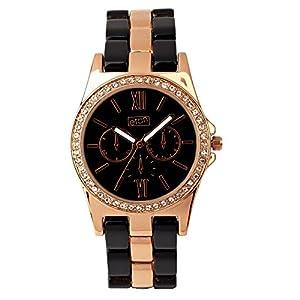 Eton señoras Reloj, Negro/Oro Rosa Link Pulsera, Carcasa, Low níquel 3188l-bk