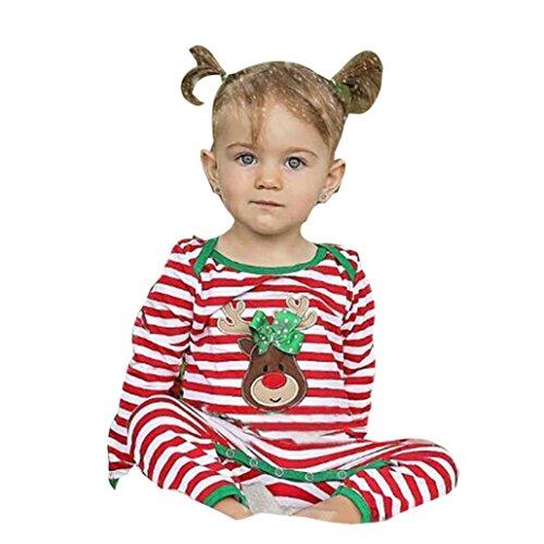 VENMO Kinder Strampler Weihnachten Kleinkind Weihnachtsmann Aufdruck Weihnachtskostüm Streifen Onepiece Strampelanzug Deer Striped Strampler Cartoon Overall Weihnachtskleidung Jumpsuit (90CM, Red) (Minnie Mouse Kapuzenjacke)