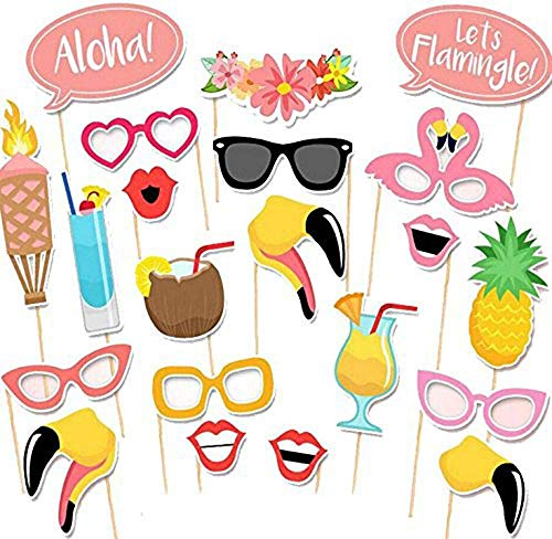 Howaf 21 Stücke Hawaii Photo Booth Props, DIY Flamingo Brillen Masken Hut Foto Requisiten Sommer Party Accessoires für Sommer Schwimmbad Party Tropical Party Hawaiian Tiki Geburtstag Party Deko