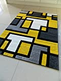 YELLOW BLACK SILVER GREY OFF WHITE SMALL MEDIUM XX LARGE RUG NEW MODERN SOFT THICK CARVED CARPET NON SHED RUNNER BEDROOM LIVING ROOM AREA RUG MAT (80 x 150 cms)