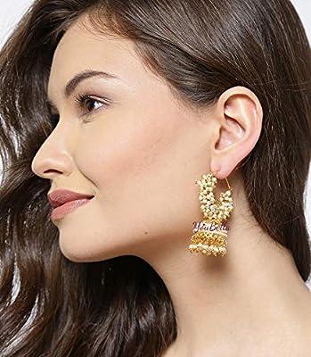 YouBella Golden Plated Hoop Earrings for Women (Golden)(YBEAR_31070)
