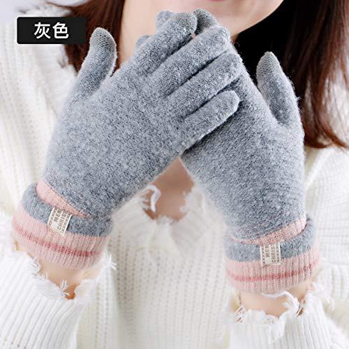 LybGloves Warme warme Nette Studentenerweiterung der Handschuhe weiblicher Winter, die Finger fünf Finger-Finger-Touch Screenwolle, eine Größe, grau reitet