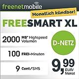 freenetmobile freeSMART XL im D-Netz, 1 Monat Laufzeit (monatlich kündbar), 2000 MB Internet-Flat mit maximal 42 MBit/s, 100 Min in alle deutschen Netze, monatlich nur 9,99 EUR, 25 EUR Bonus bei Rufnummernmitnahme, Triple-SIM-Karten