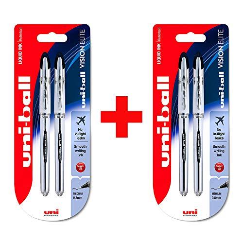 Vision Elite Tintenroller mit flüssiger Tinte von Uni-Ball, UB-200, 2x Doppelpack, Schwarz (4Stifte)