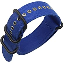 26mm azul Premium Deluxe estilo de la NATO lona resistente militar de tipo Reloj pulsera de los hombres del deporte