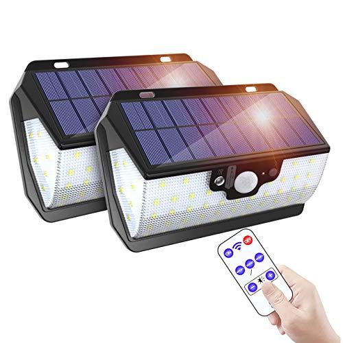 ERAY Solarlampen für Außen mit Bewegungsmelder, Solarleuchten für Außen【Fernbedienung & 3000mAh & Zwei Aufladungsmodus】IP65 Wasserdicht 55 LEDs 800 Lumen 3 Modi, Solarlampe für Garten und Balkon