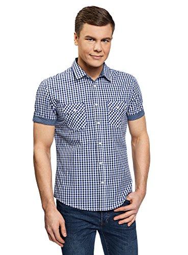 oodji Ultra Herren Tailliertes Hemd mit Druckknöpfen Blau (1079C)