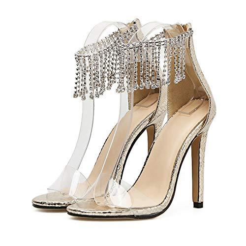 XTQCBQL Women Summer 11cm High Heels Stiletto Bright Glitter Sandals Lady Pumps Female Crystal Glossy Strap Shoes Heel Glitter Sandal