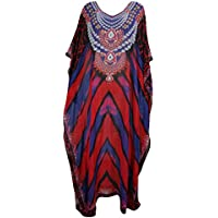 Mogul Interior Kaftan Boho Dresses Blue Red Printed Caftan Hippie Resortwear Maxi Dress