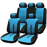 SITU universal Auto Schonbezug Komplettset Sitzbezüge für Auto aus Kunstleder schwarz/blau SCSC0088