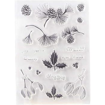 Wiffe Ahorn Bl/ätter Silikon Clear Stamps f/ür Scrapbooking Album Foto DIY Dekor