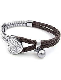 87f1687b1c9da KONOV Bijoux Bracelet Femme - Coeur Charm Tressé Manchette - Cuir - Acier  Inoxydable - Fantaisie - Chaîne de Main - Couleur Marron…