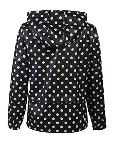 Meaneor Damen Jacke Übergangsjacke Regenjacke mit Kapuze Tasche Regenparka Funktionsjacke Wasserdicht Atmungsaktiv Schwarz+Weiß Punkten