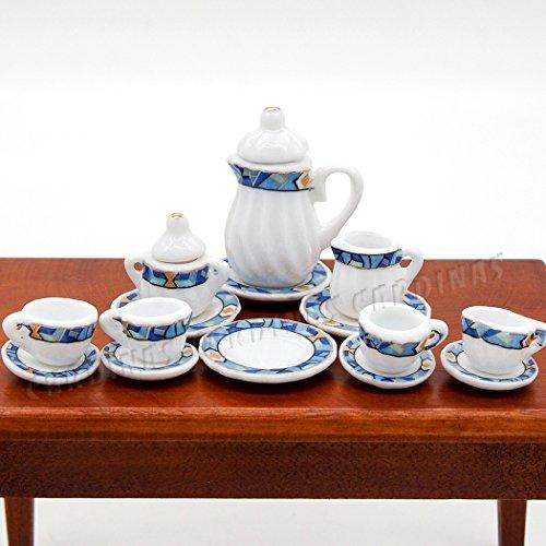 Preisvergleich Produktbild Odoria 1/12 Miniatur Geschirr 15 Stück Porzellan Mediterranen Stil Teeservice Set Für Puppenhaus Küchen