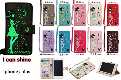 iPhone 7 Plus Hülle Flip-Case Premium Kunstleder Tasche im Bookstyle Klapphülle mit Weiche Silikon Handyhalter Lederhülle für Apple iPhone 7 Plus (5.5 Zoll) Luminous Mädchen Katze case Hülle +Stöpsel  10