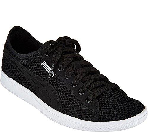 Synthétique Puma Chaussures Mesh Blanc For Wz1bo Baskets Vikky Noir OTw4nZOq