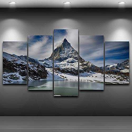 ilder 5 Panel Schnee Berglandschaft Poster Für Wohnzimmer Wohnkultur Abstrakt Auf Leinwand ()
