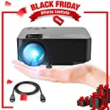 DBPOWER Mini Beamer, 2200 Lumen HD 1080P LED Video Projektor mit 176  Display, 50.000 Lebensdauer, Heimkino Projektor Kompatibel mit Amazon Fire TV Stick, HDMI/VGA/AV/USB/TF, Schwarz medium image