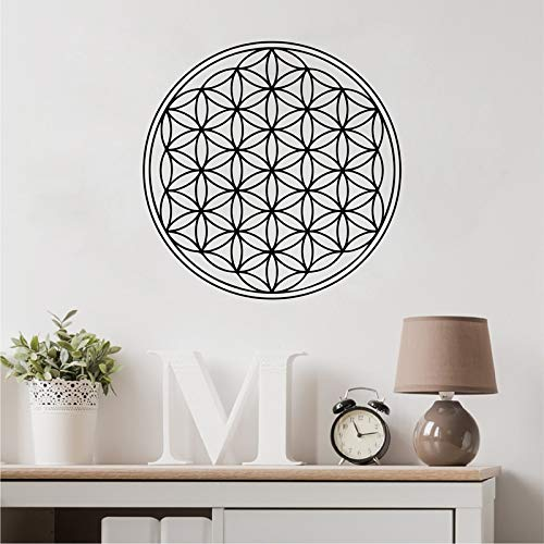 WWYJN Seed Flower of Life Wall Decal Art Decor Sticker Sacred Geometry Vinyl Movable Wall Decals Mural Home Room Decoration Blue 38x38 cm