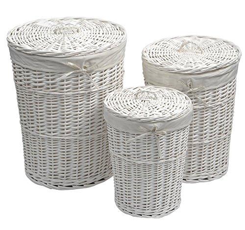 Lot de 3 paniers : Set de 3 coffres à linge rond avec couvercle en osier peint blanc - Housse amovible en coton blanc