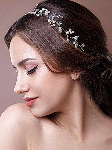 aukmla Strassbesatz Haarband und Stirnband mit Kristall, Fashion Zubehör für Frauen und Mädchen (Silber) -