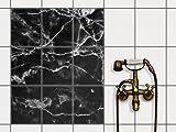 creatisto Küchen-Folie Fliesen-Aufkleber | Deko-Dekorsticker Badfliesen Wanddeko | 20x25 cm Design Motiv Marmor schwarz - 9 Stück