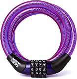 MEETLOCKS® Coiled Combination Cable Lock For Bike, Suitcase, Locker, Dia.6x1200mm(L)8x1200mm(L) With Code Tag,Code Can't Change
