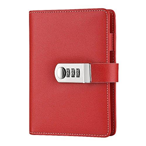 Sealei Nachfüllbares Tagebuch mit Schloss und Zahlenschloss für Notizbuch A6 Größe 18,3 x 13,3 cm rot