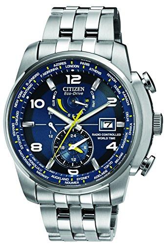 Citizen Armbanduhr World Time A.T Herren Armbanduhr Quarz mit Blau Zifferblatt Analog-Anzeige und Silber Edelstahl Armband AT9010-52L bei Robizoo