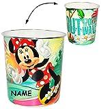 Papierkorb -  Disney Minnie Mouse  - incl. Name - Kunststoff - Mülleimer Eimer - Aufbewahrungsbox für Kinder Mädchen - Abfallbehälter / Abfalleimer Kinderzi..