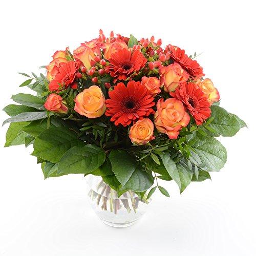 floristikvergleich.de Blumenversand vom Besten! – unser Blumenstrauß – Orange Fire! mit 15 rot-orangen Rosen & Gerbera – mit Gratis – Grußkarte versenden