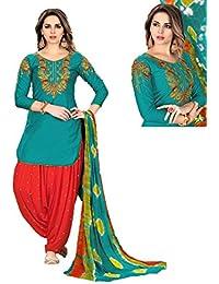 Nilkanth Enterprise Women's Cotton Embroidered Semi Stitched Patiyala Suit With Dupatta (NE_PC_06, Teal Blue)